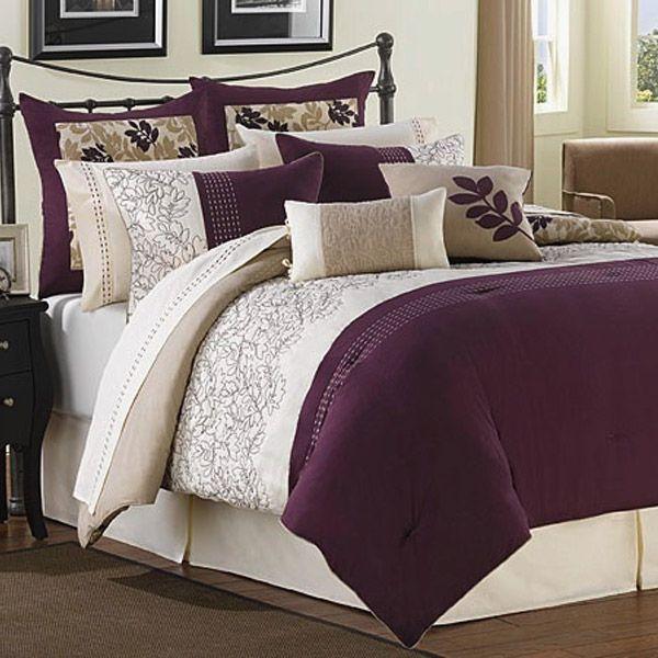 Attractive Ridgewood Plum, Ivory And Taupe 6 Piece Comforter Set