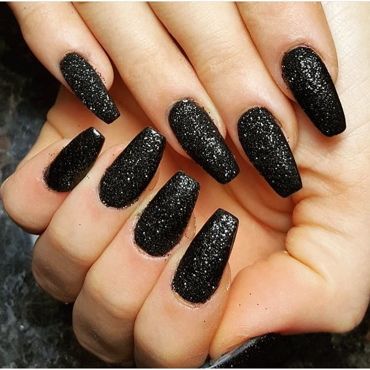 Matte Glitter Coffin Nails Sparkly Acrylic Nails Silver Acrylic Nails Black Nails