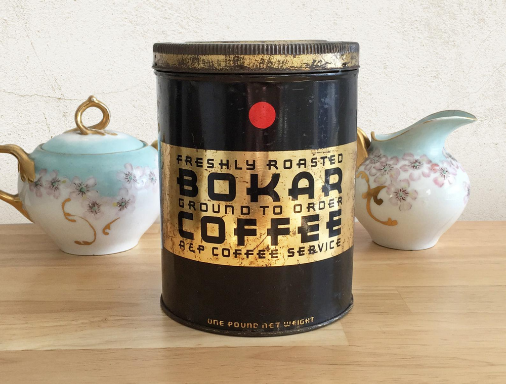 Vintage Coffee Tin Bokar A P Coffee Can Advertising Tin Can Etsy Vintage Coffee Coffee Tin Coffee Cans