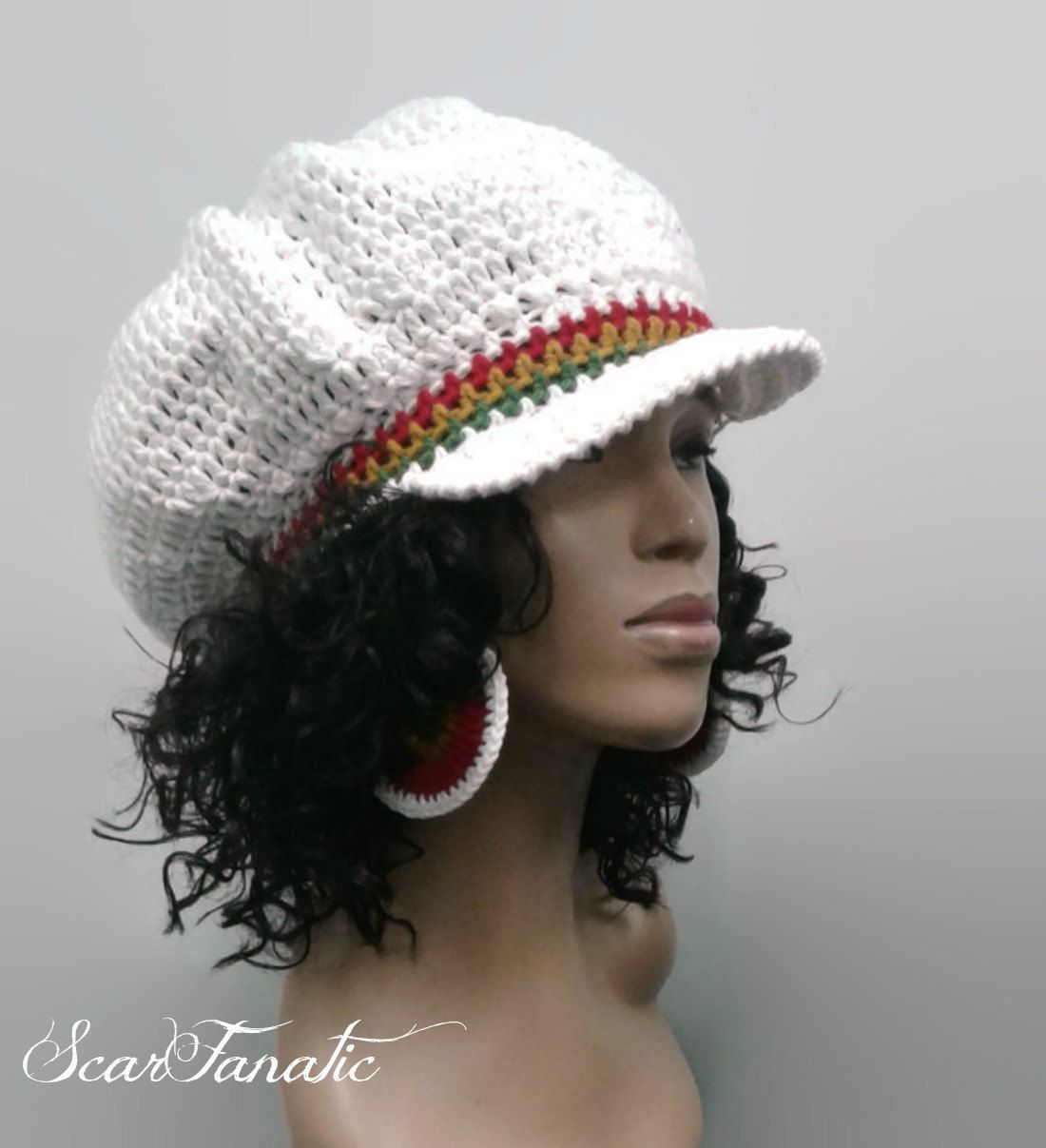 c42c28225c7 PATTERN ONLY Easy Crochet Rasta Brimmed Beanie Newsboy Hat  Tam 2 different  brim options in pattern by ScarFanatic on Etsy