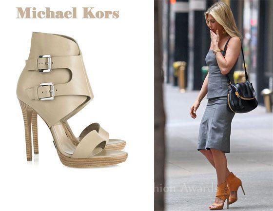 In Jennifer Aniston S Closet Michael Kors Buckle Sandals Red Carpet Fashion Awards Buckle Sandals Mk Shoes Michael Kors