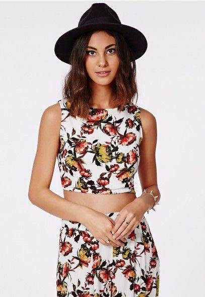 Raezel Floral Print Cropped Shell Top - Shell Tops - Missguided