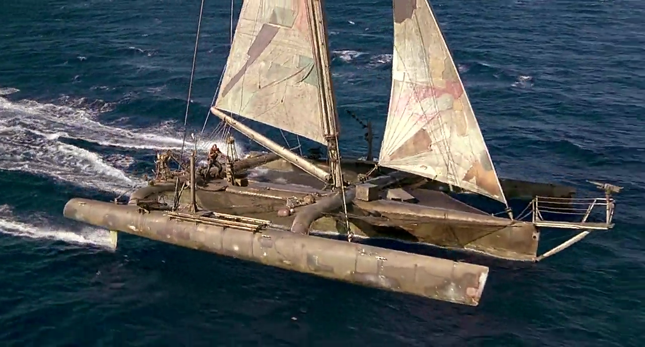 Waterworld trimaran. this boat was functional, not just a prop. | Technologia | Boat, Sailing ...