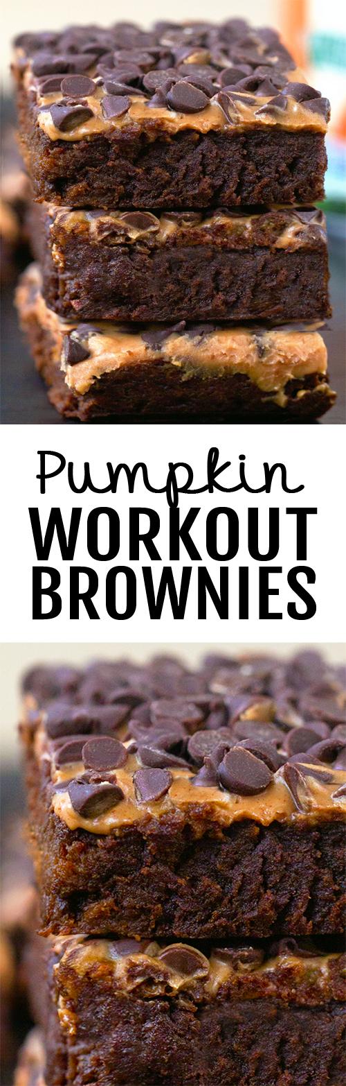 Dark chocolate flourless pumpkin brownies, made with just 7 healthy ingredients #pumpkin #chocolate #brownies #healthy #protein #workout #fitness