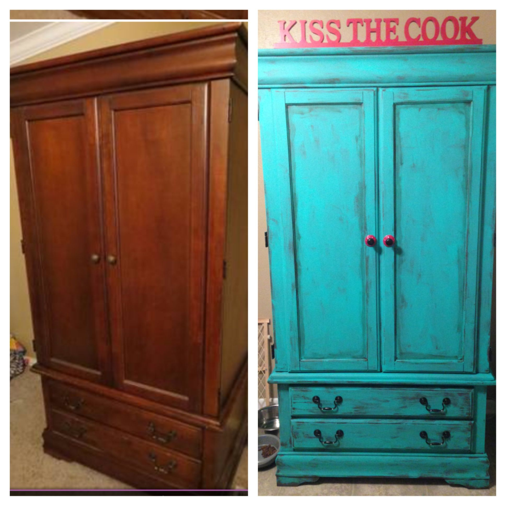My $50 Craigslist Armoire Turned Into Our New Pantry With Homemade Chalk  Paint!!