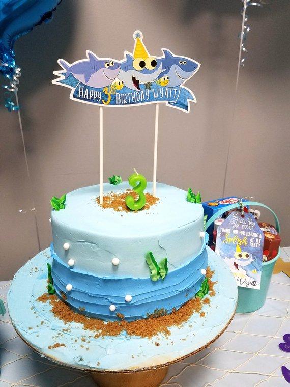 Baby Shark Happy Birthday Cake Topper