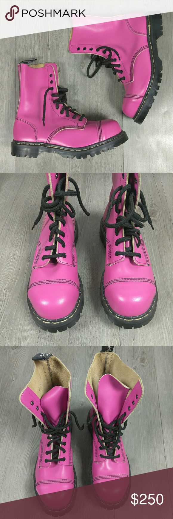 c88e7f354a4d Gripfast 10 Eyelet Steel Toe Pink Leather Boots New without box Gripfast  Shoes Combat   Moto Boots  steeltoeshoesfashion