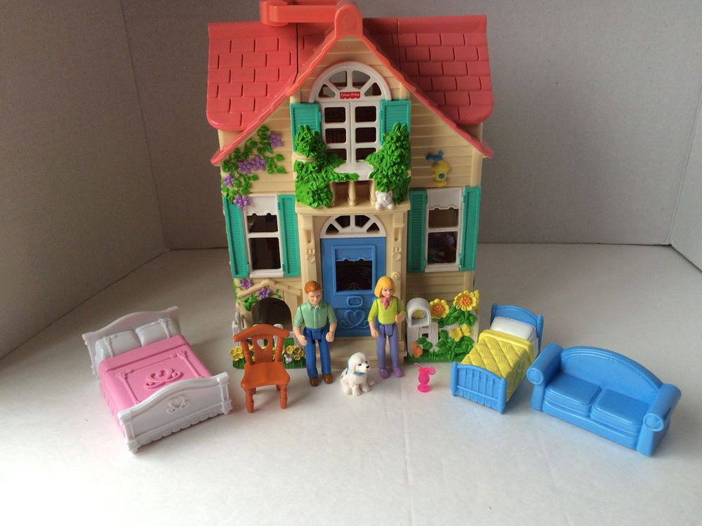 2000 Fisher Price Loving Family Sweet Streets Cottage Doll House Accessories Guc Doll House Home Accessories Old Toys