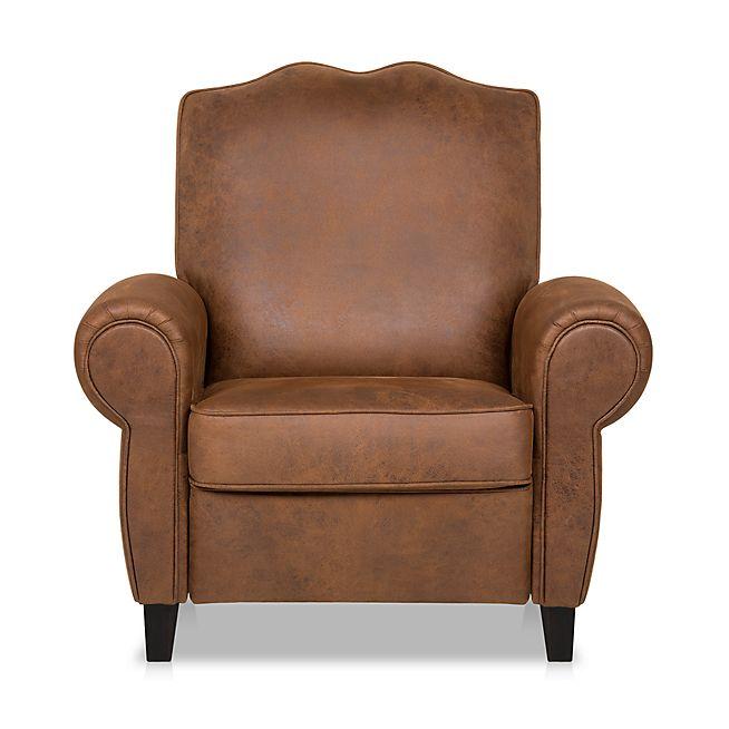 moustache fauteuil relax manuel en tissu effet cuir