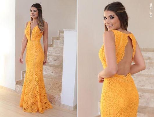 8e35b1af75c3 vestido de renda amarelo | EuFuturo em 2019 | Vestido de festa ...