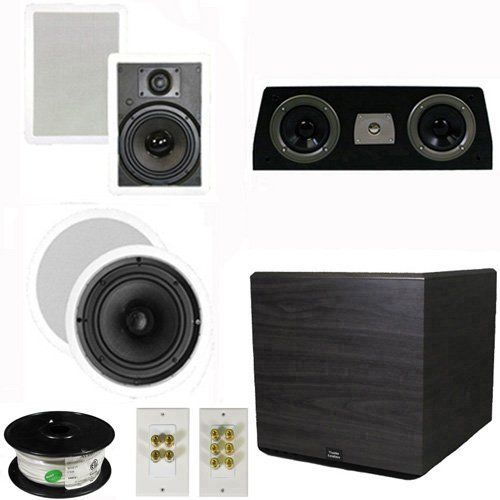 "5.1 Home Theater 8"" and 6.5"" Speaker Set with Center, 15"" Powered Sub and More TS6W8CC51SET8 by Theater Solutions. $439.99. Specifications2 TS65W In Ceiling/Wall Speakers6.5"" Woven Kevlar Driver with 32-20,000 Hz Range200 Watts RMS and 400 Watts Max per pair93dB SensitivityWall Cut Out Size is 10.5"" x 7.125""Overall Measurement is 12.125"" x 8.6875""Mounting Depth is 3""2 TS80C In Ceiling/Wall Speakers8"" Woven Kevlar Drivers with 30-20,000 Hz Range250 Watts RMS and ..."