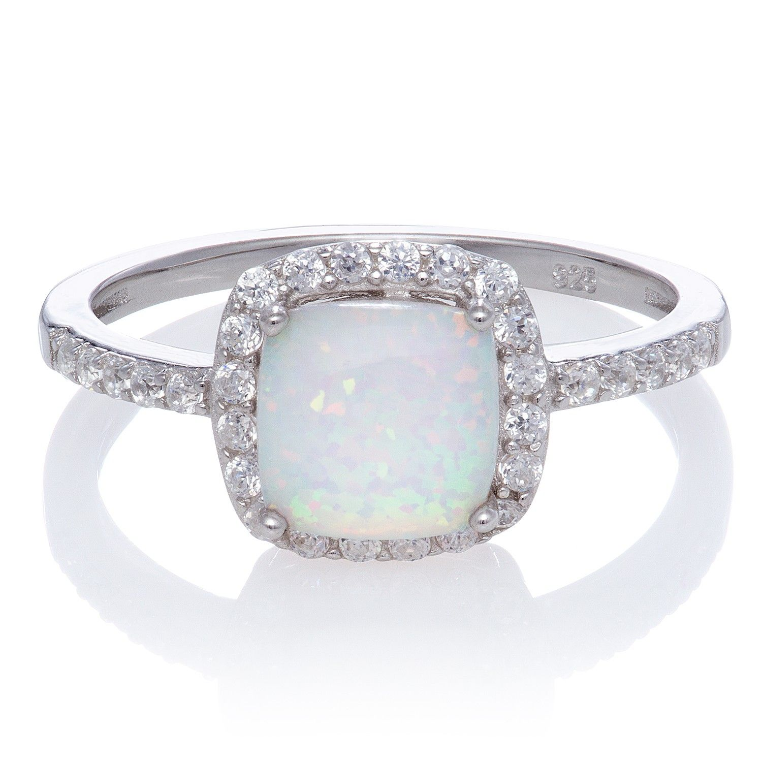 beautiful burst of color with this cushion cut simulated opal with