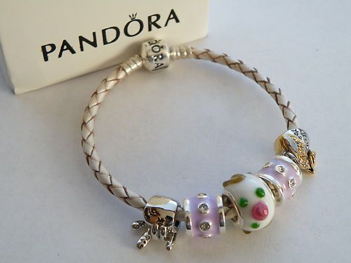 Authentic Pandora Sterling Silver Braided Champagne Leather Bracelet With Charms