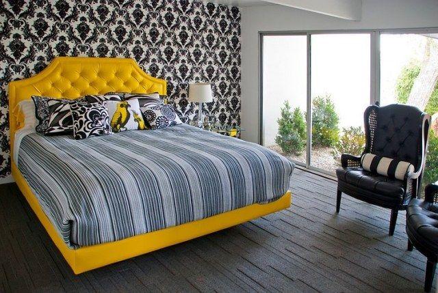 modernes schlafzimmer schwarz weiß gelber bettrahmen ... - Modernes Schlafzimmer Schwarz Weis