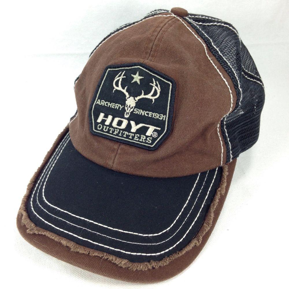 6e9c31ea22e Hoyt Outfitters Archery Hunting Bows Brown Black Mesh Strapback Baseball Hat  Cap
