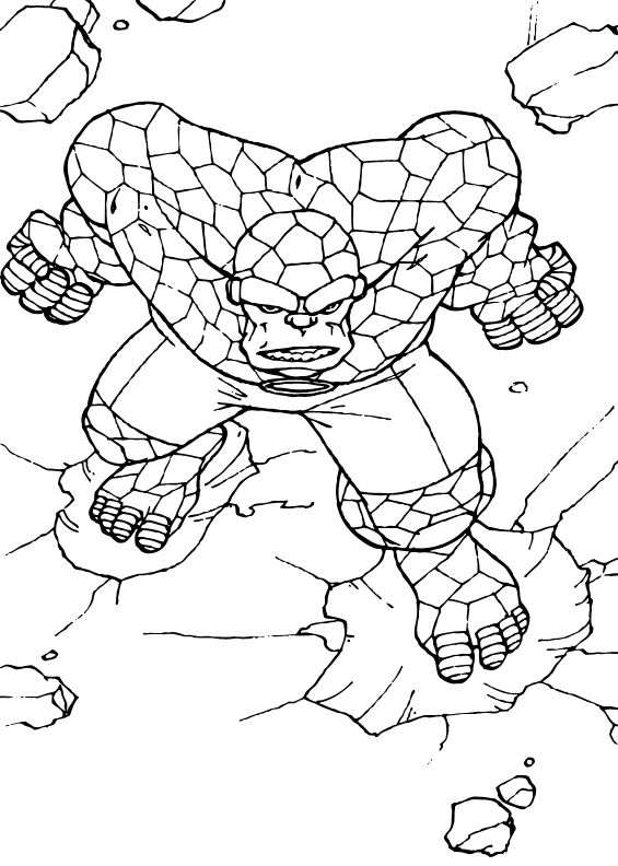 The Thing Fantastic Four Coloring Pages Avengers Coloring Pages Spiderman Coloring