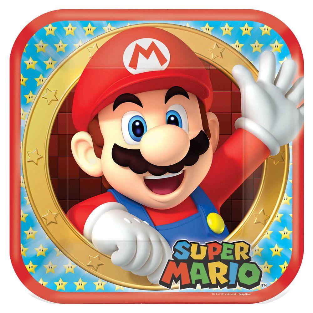 "nintendo birthday gift | Super Mario Bros Nintendo Birthday Party Disposable 9"" Lunch Paper ..."