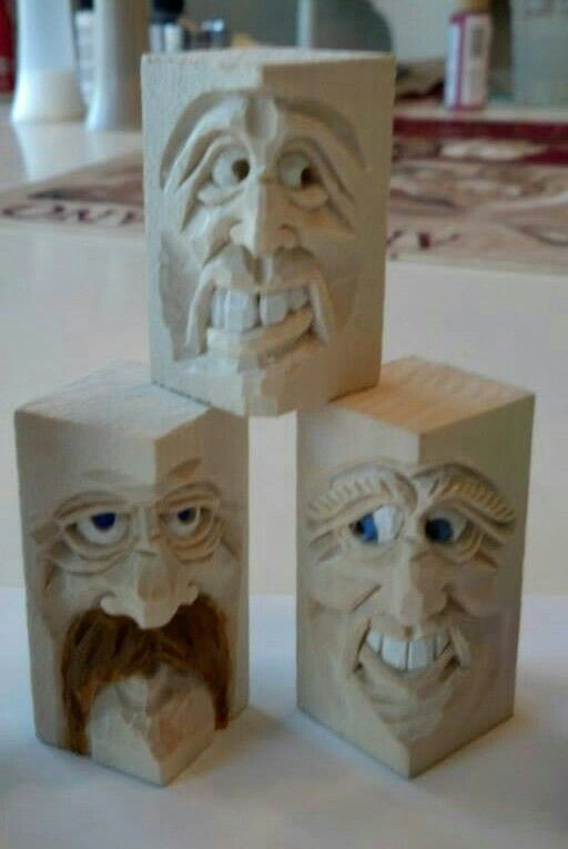 Small faces by steve coughlan wood carving pinterest