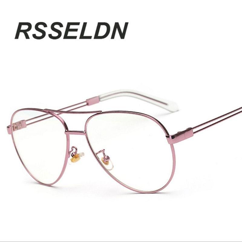 RSSELDN Luxury Brand Clear Lens Glasses Women Gold Eyewear Frame Men ...