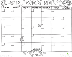 Create A Calendar November  Worksheets November And Math Worksheets