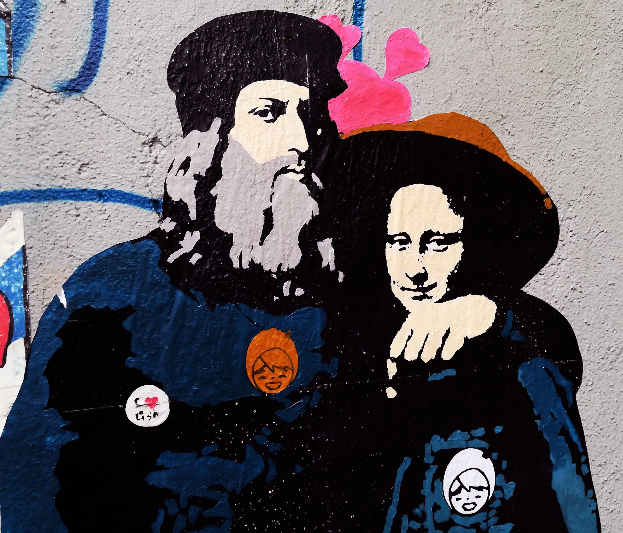 Leonardo da vinci e monna lisa visti da tv boy sticker in milano italy picture by giacomo zavatteri streetart stickers graffiti tvboy milano