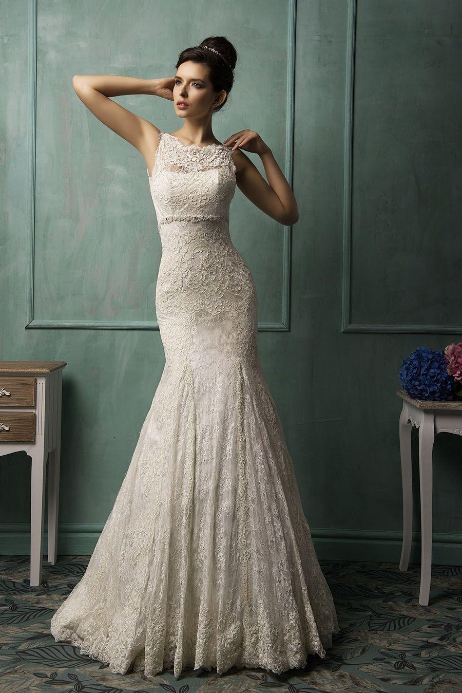 alluring lace trumpet boat neck sleeveless v back wedding dress