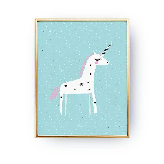 Einhorn poster pastell einhorn drucken von lovelyposters for Zimmer deko einhorn