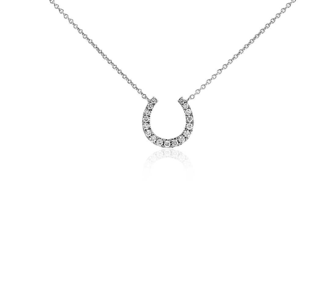 Blue Nile Mini Horseshoe Diamond Necklace in 14k White Gold (1/10 ct. tw.) kUeh8Tr