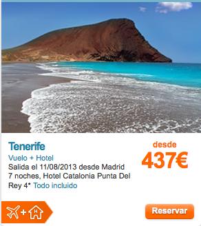 Chollazo TENERIFE TODO INCLUIDO  Vuelo + Hotel Salida el 11/08/2013 desde Madrid 7 noches, Hotel Catalonia Punta Del Rey 4*  mas info http://www.solyocio.com/agencias/entradaIdentificada.aspx?codigoAgencia=1834=5466=%2Fnavegacion%2Fpaquete%2Fchollos.aspx