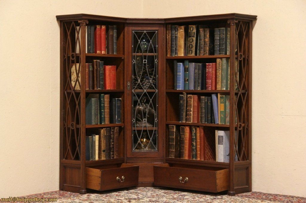Cherry 1890 Antique Corner Bookcase Leaded Glass Door