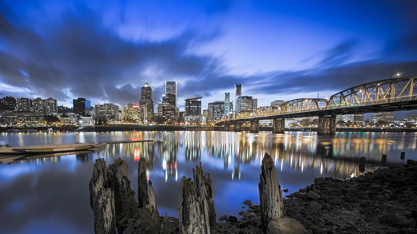 Portland Skyline And Willamette River Oregon