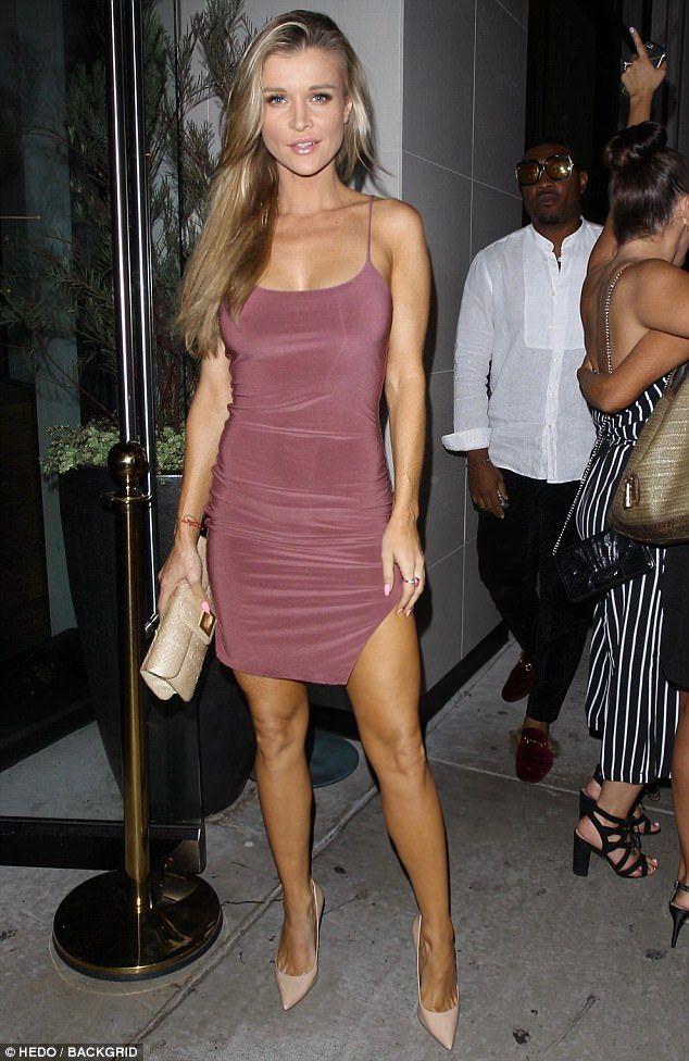 Joanna Krupa displays well-toned legs in mauve dress for a b
