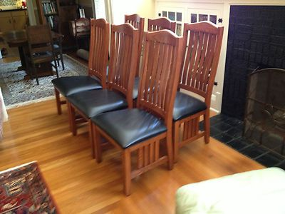 Mission Oak Arts Crafts Craftsman Dining Chairs Set Of Six Amish