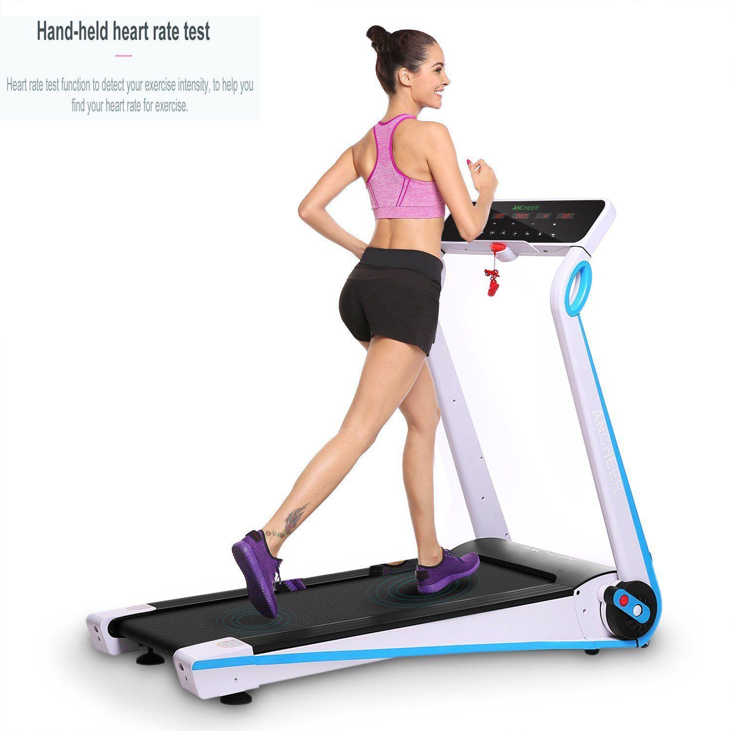 Amazon Com Kaluo Easy Assembly Folding Electric Treadmill Touch Screen Motorized Running Machine With Mp3 B No Equipment Workout Exercise Electric Treadmill