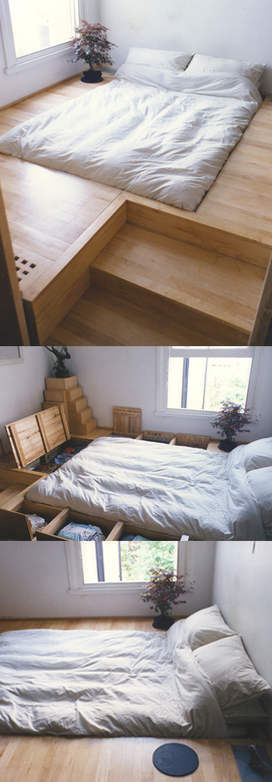raised floor level to make sotrage bed, then recessed bed to create an even sight line