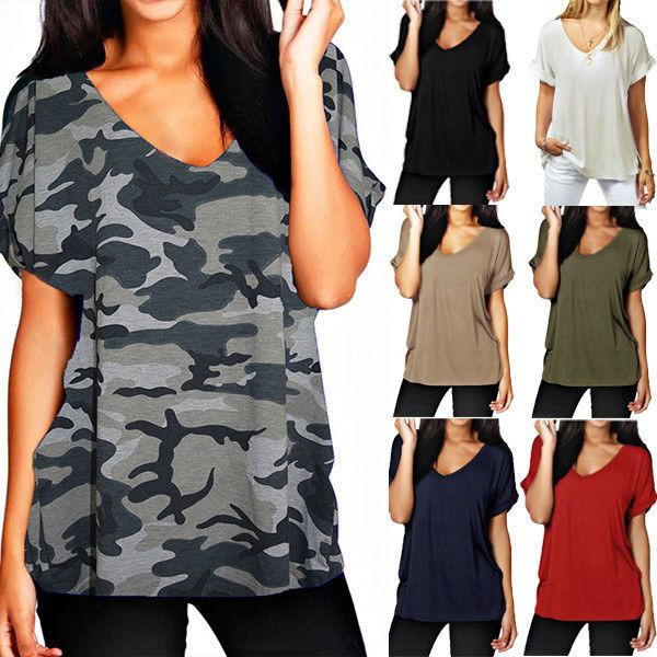 5df12a5cec7 Plus Size S-5XL Womens Summer V Neck Loose T Shirt Casual Baggy Blouse Tee  Tops  UnbrandedGeneric  Blouse  Casual