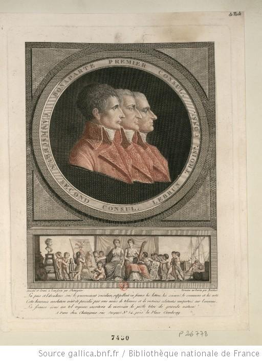Portraits Des Trois Consuls En Buste De Profil A Dr Reunis Dans Une Bordure Circulaire Sur Laquelle On Lit Bonaparte Buste Revolution Francaise Bordure