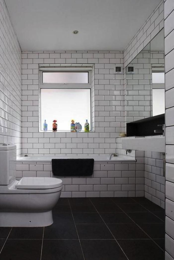 Subway dark grout floor ceiling bathrooms in 2019 - White subway tile with black grout bathroom ...