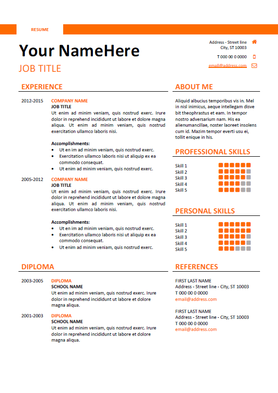 Free Clean And Simple Resume Template For Word Docx  Orange