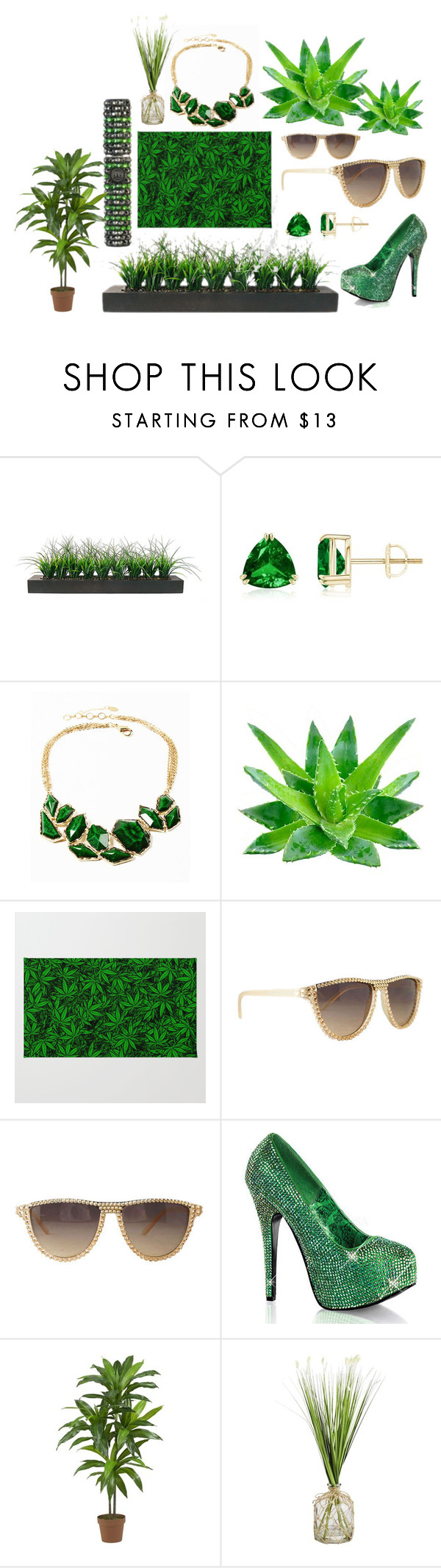 """""""Grass is Greener"""" by crystalcult on Polyvore featuring Vintage, Amrita Singh, Bordello, Nearly Natural and Pier 1 Imports"""