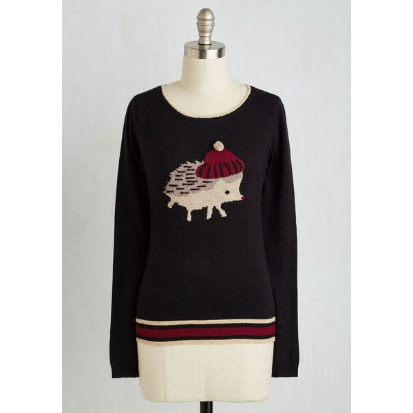 Yumi Critters Mid-length Long Sleeve Chilly Quills Sweater ($85) ❤ liked on Polyvore featuring tops, sweaters, apparel, black, pullover, long sleeve tops, knit sweater, black sweater, black pullover and knit pullover