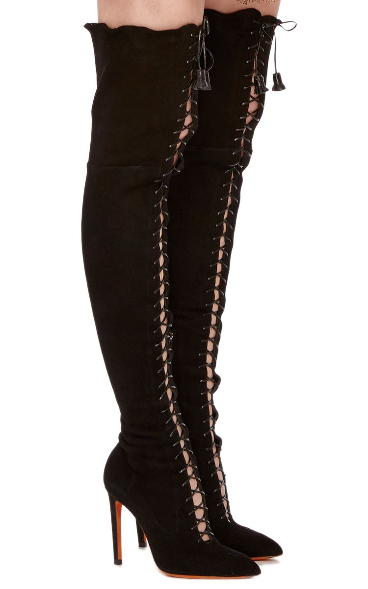 68150b0096 Lace-up Over-the-Knee Boot | BOOTS UP BOOTS DOWN | Boots, Over the ...