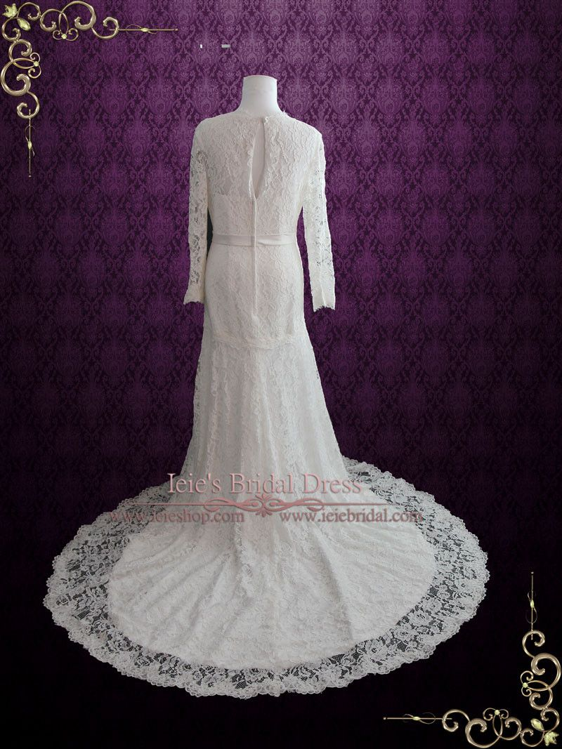 Slim A-line Lace Wedding Dress with Long Sleeves | Ieie's Bridal Wedding Dress Boutique