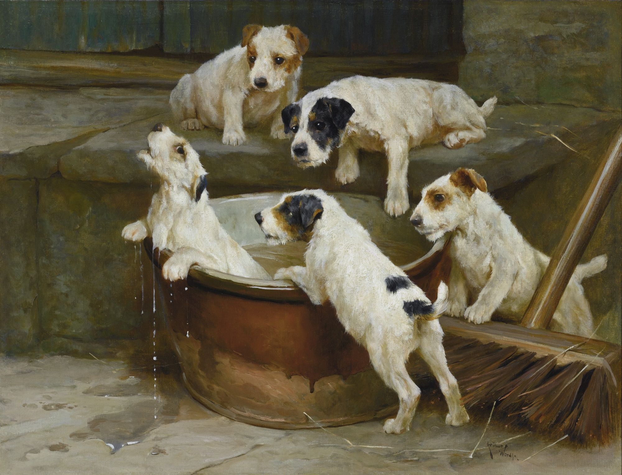 FOX TERRIER TOTTERIDGE 11 DOGS PAINTING BY ARTHUR WARDLE REPRO