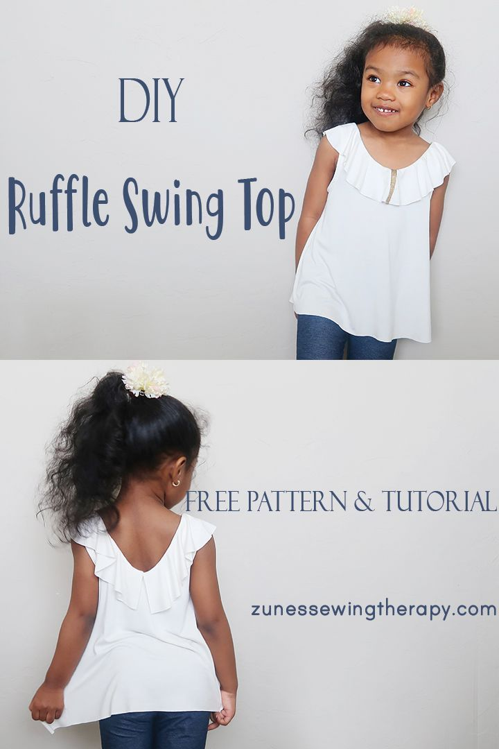 Super cute yet so easy to make kids' Ruffle Swing Top with an open V-back!    Let's sew toys! If you want to start with a doll, we'll tell you to watch our videos first. Then take a stroll among the models. You'll see, what wonderful toys you can make with a little sewing knowledge…    After a long break, I wanted to try and share my new babies. Sewing rag dolls is a hobby I've loved since I was a kid. I've been trying to follow new techniques for years.... #Free #Kids #Pattern #ruffle #Top