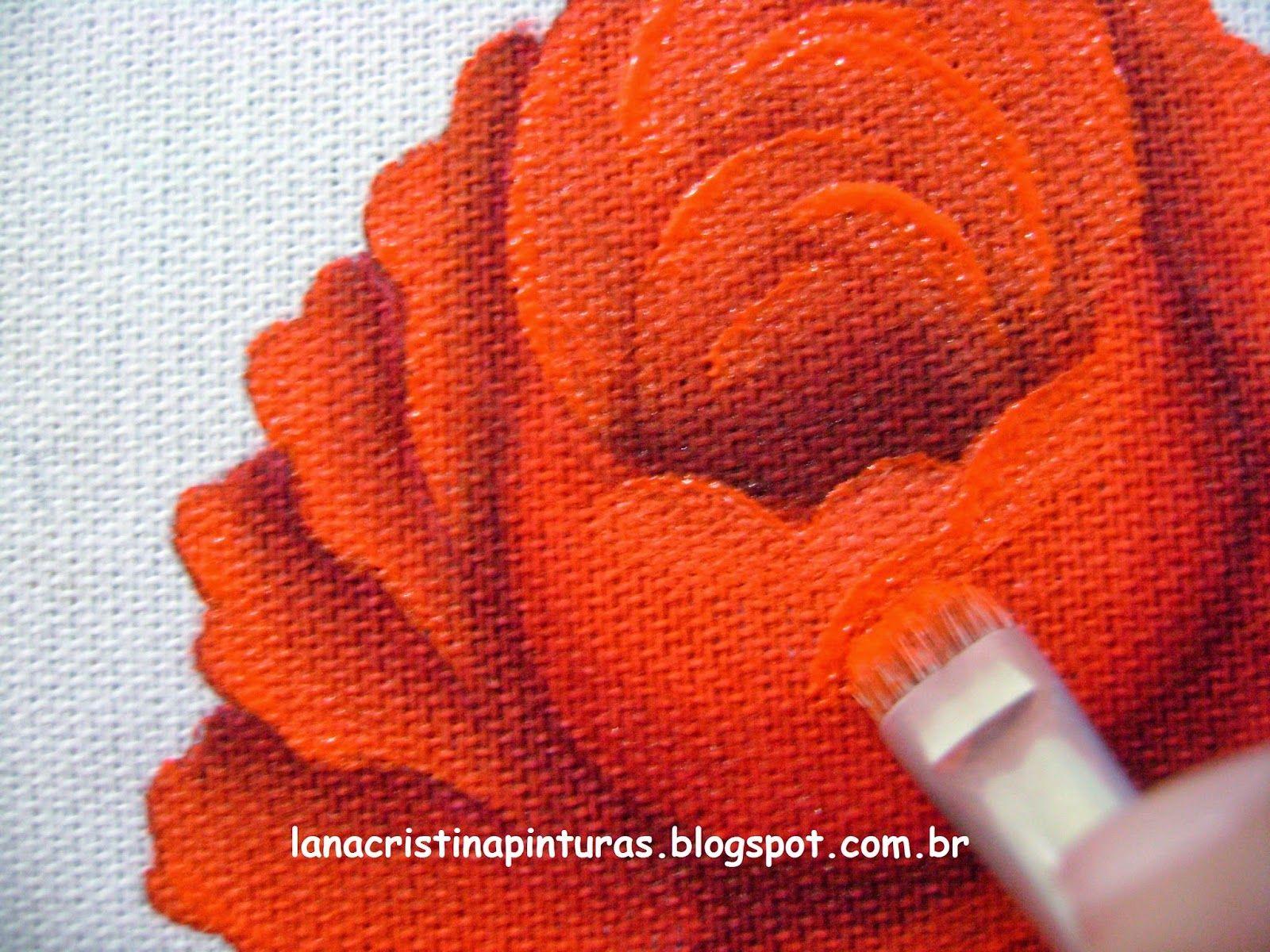 Pintura em Tecido e Artesanato: Pintando Rosa Vermelha