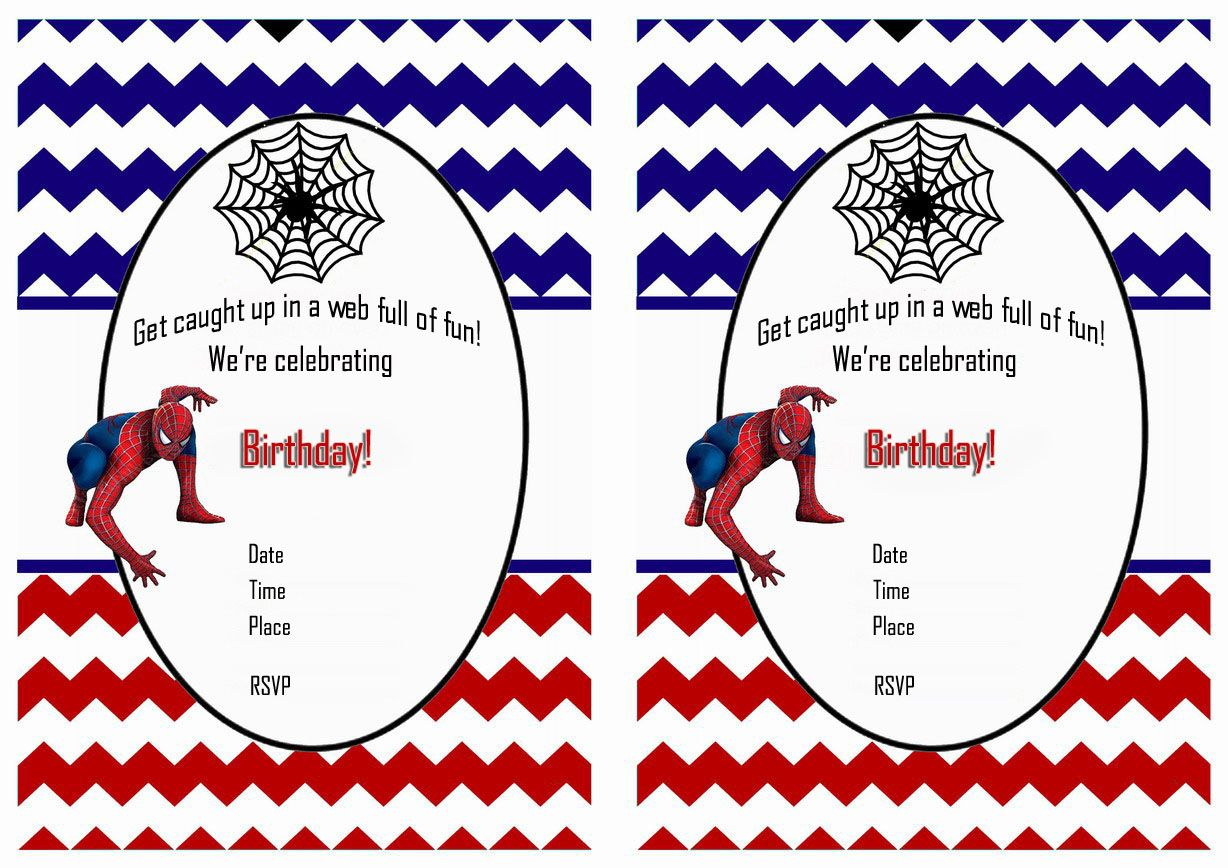 Spiderman FREE Printable Birthday Party Invitations  Birthday Invitation Template Printable