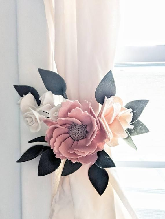 Felt Floral Curtain Tie Back Pink Floral Curtain Ties Pink And