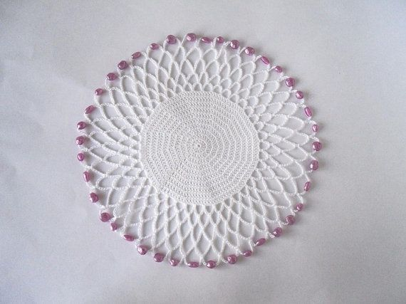 White Crochet Beaded Jug Cover With Pink Beads Beaded Glass Cover