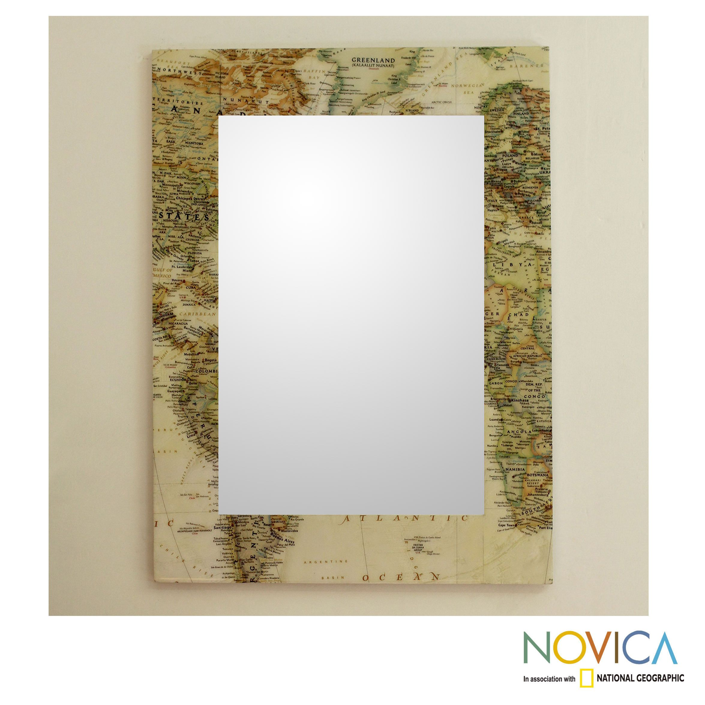 This handsome wall mirror by kamal features a mosaic of vintage this handsome wall mirror by kamal features a mosaic of vintage style world maps gumiabroncs Image collections